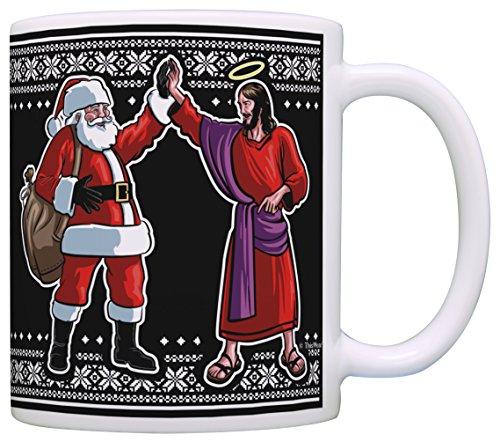 Funny Christmas Coffee Mug Santa Jesus High Five Ugly Christmas Sweater Themed Christmas Mugs for Women Gift Coffee Mug Tea Cup Black