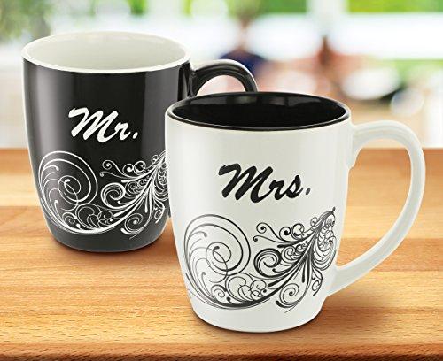 KOVOT Mr and Mrs Coffee Mug Set - Each Mug Holds 18 Ounces