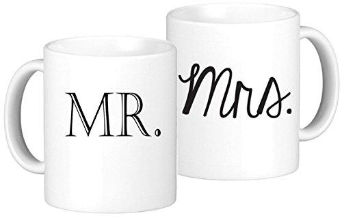 Oh Susannah Mr Mrs Mug Set - 2 11oz Coffee Mugs - White Gift Box Packaging