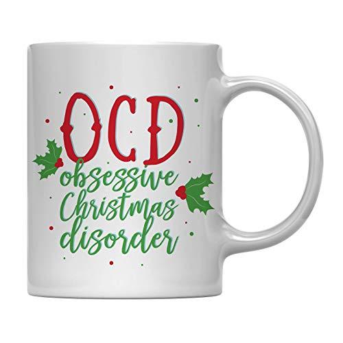 Andaz Press 11oz Funny Christmas Coffee Mug Gag Gift OCD Obsessive Christmas Disorder 1-Pack Office Coworker Family White Elephant Gift Ideas Under 10 or 15