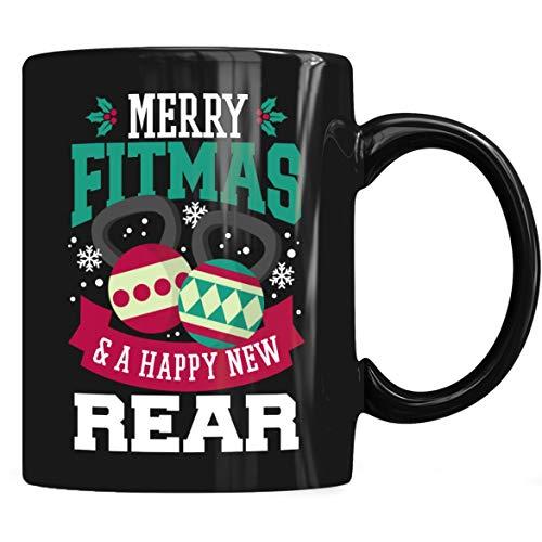 Merry Fitmas and Happy New Rear Mug - Funny Christmas Coffee Mug 11oz 15oz Gift Tea Cups