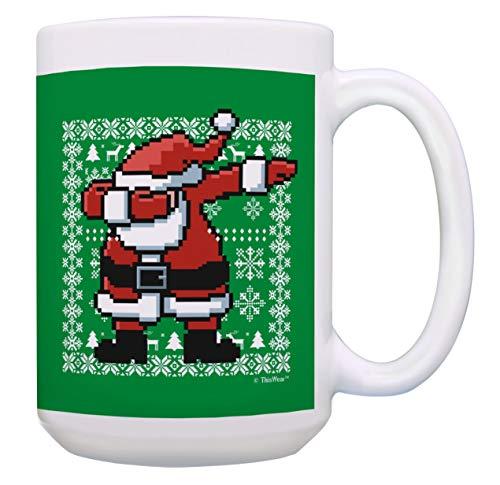 Christmas Presents Dabbing Santa Claus Mug Funny Santa Cup Xmas 15-oz Coffee Mug Tea Cup Green
