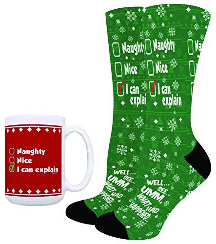 Christmas Presents I Can Explain Santa Christmas Socks with Christmas Mug Sock and 15oz Mug Bundle