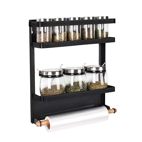 Haturi Magnetic Spice Rack Foldable Kitchen Fridge Organizer Shelf for Storage Spice Condiment Seasoning MediumBlack