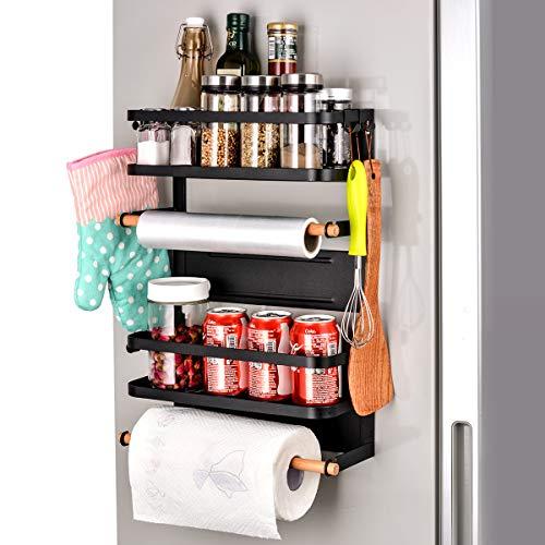 Sunix Kitchen Rack Fridge Magnetic Organizer 126x52x181in New Design Paper Towel Holder Rustproof Spice Jars Rack Multi Use Refrigerator Side Shelf Including 5 Removable mobile Hooks BLACK