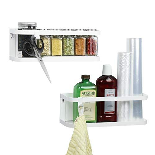 WS Magnetic Spice Rack Refrigerator Spice Organizer Single Tier Spice Storage Shelf Space Saving with 2 Removable Hooks2 packWhite