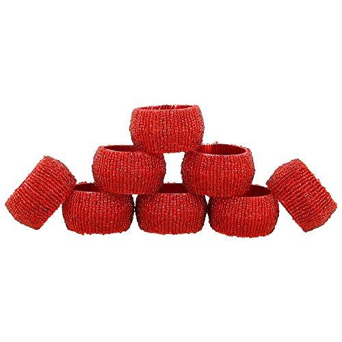 Handmade Indian Red Beaded Napkin Rings - Set of 8 Rings