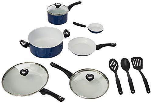 Farberware 17490 Ceramic Dishwasher Safe Nonstick Cookware Pots and Pans Set 12 Piece Blue
