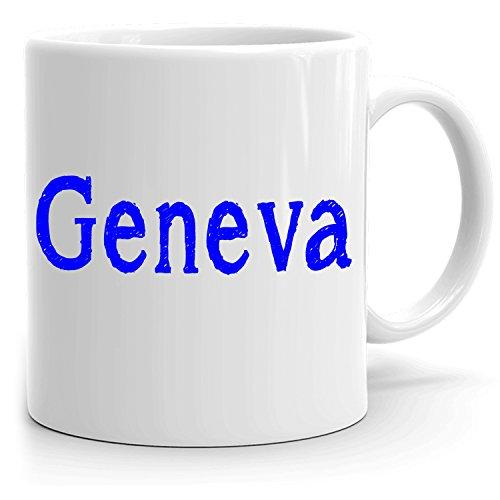 Geneva Coffee Mug - Personalized Cup for Tea Hot Chocolate Milk - Best Gift for Women - 11oz White Mug - Sketch Design