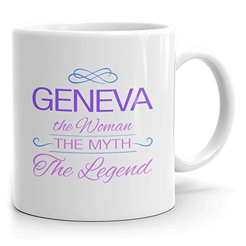 Geneva Coffee Mugs - The Woman The Myth The Legend - Best Gifts for Women - 11oz White Mug - Purple