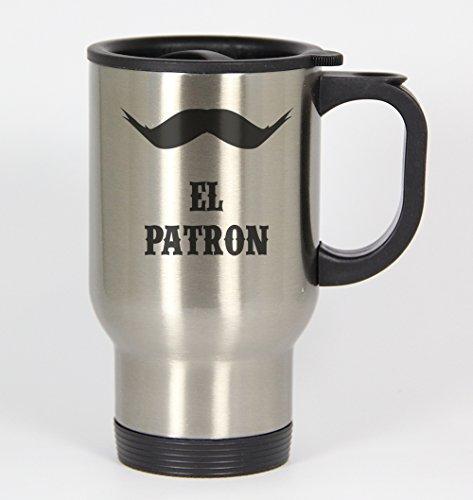 El Patron 134 - Funny Humor 14oz Silver Travel Mug