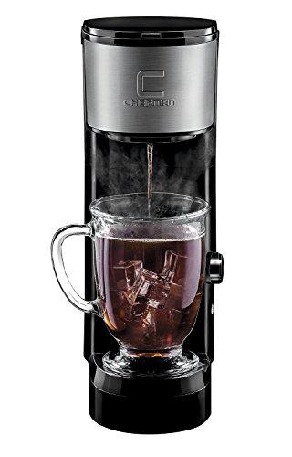 Chefman Instabrew Single Serve Maker Brewer for K-Cup Pods Coffee-Grounds Loose-Leaf Tea wInstant Reboil Bonus Reusable Filter Compact 14 oz BlackStainless Steel Mug Not Included