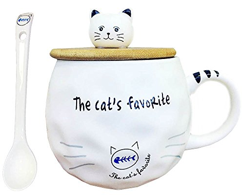 Cat Ceramics Coffee Mug Water Teacup with Spoon and Lid