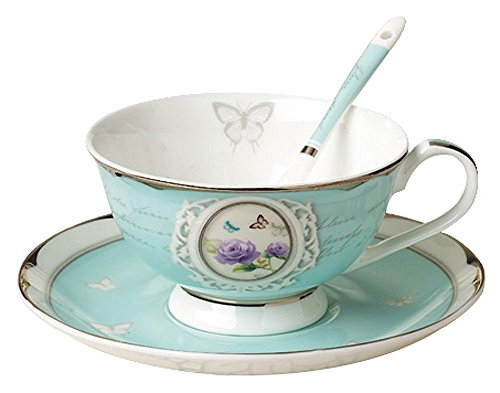 FlorisHome Vintage Blue Bone China Teacup Spoon and Saucer Set