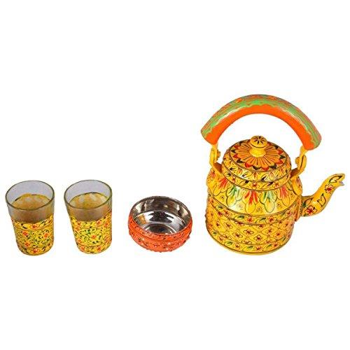 Hand Painted Tea Set coffee box kitchenware Yellow Tea Set coffee kitchenware
