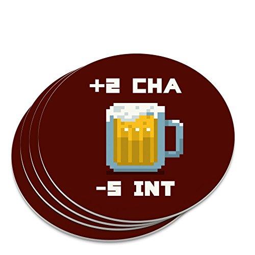 8-Bit Pixel Retro Beer Charisma Buff Gamer Game Novelty Coaster Set