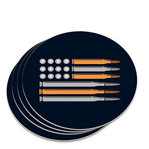 American Flag Bullets Guns USA Second 2nd Amendment Novelty Coaster Set