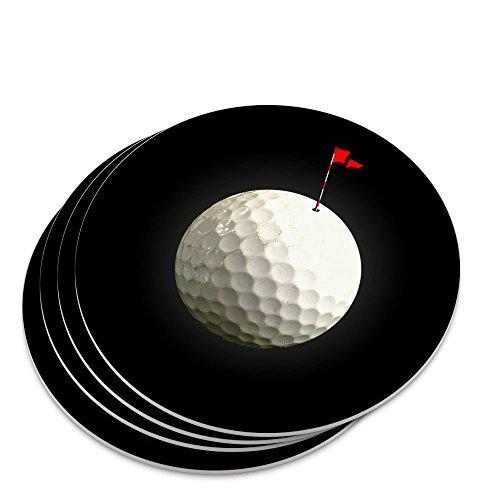 Golf Ball Moon Flag Golfing Novelty Coaster Set