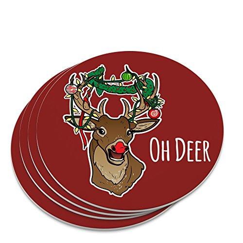 Oh Deer Dear Christmas Holidays Funny Novelty Coaster Set