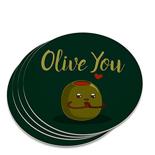 Olive You I Love You Funny Novelty Coaster Set
