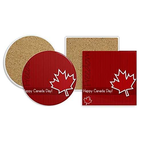 Canada Flavor Happy Canada Day Coaster Cup Mug Holder Absorbent Stone Cork Base Sets
