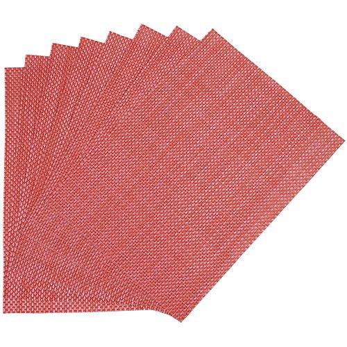Benson Mills Longport Woven Vinyl Placemat Red Set of 8