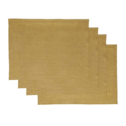 Solino Home 100 Pure Linen Handcrafted Placemats Tesoro Set of 4 14 x 19 Inch Mustard Gold Placemats