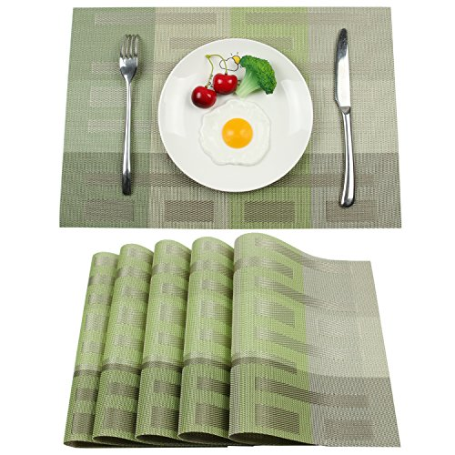 Homcomoda Placemats Vinyl Dining Table Mats Heat Resistant Place Mats for Kitchen Table Set of 6Green