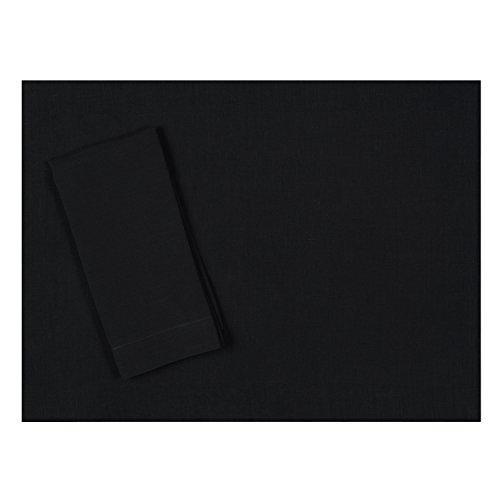 Black Pure Italian Linen Placemat 15x20 Set of Four