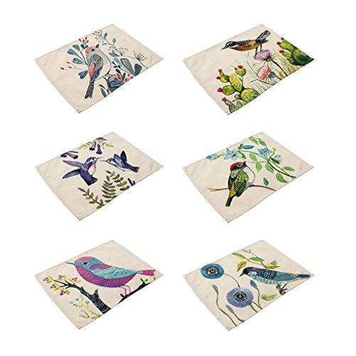 HACASO 6 Pieces Cotton Linen Placemats Bird Pattern Dining Table Mats1