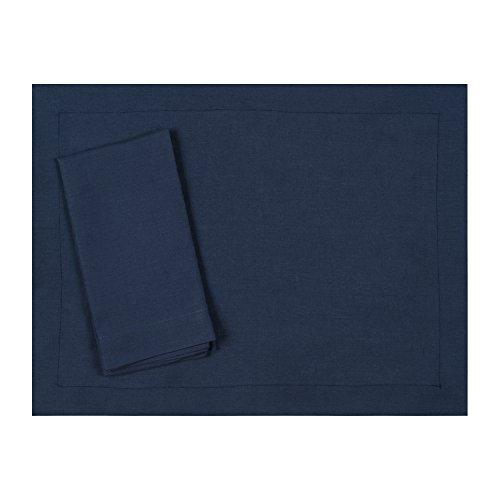 Navy Blue Pure Linen Placemat 15x20 Set of Four