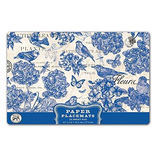 Michel Design Works 25 Count Paper Placemats Indigo Cotton