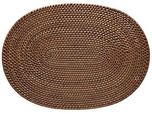 Laguna Handwoven Oval Rattan Placemat 175 x 125 inches Set 2 Honey Brown