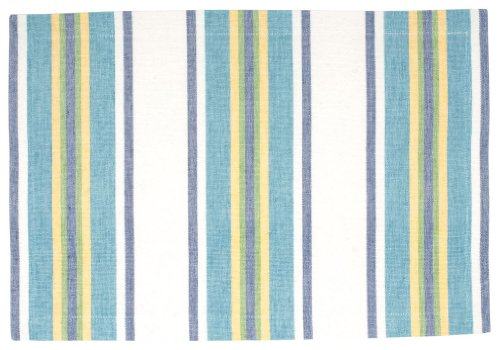 100 Cotton Blue White Yellow Striped 13x19 Placemat Set of 6 - Seaside