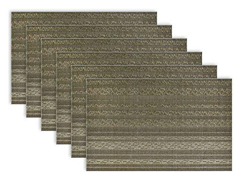 DII PVC Metallic Basketweave Striped Placemats Set of 6 Gray
