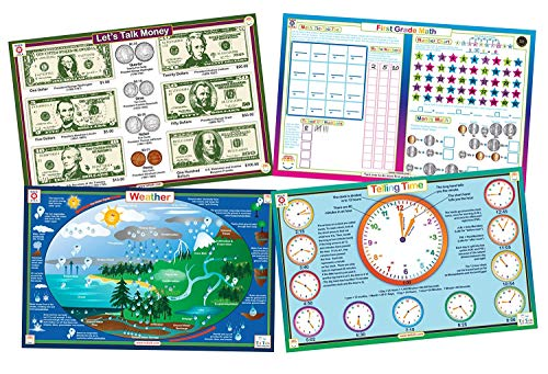 Tot Talk Educational Kids Placemats - First Grade Set of 4 Table Mats Money Telling Time Weather First Grade Math - Reversible Activities - Waterproof Washable Wipeable Durable USA-Made