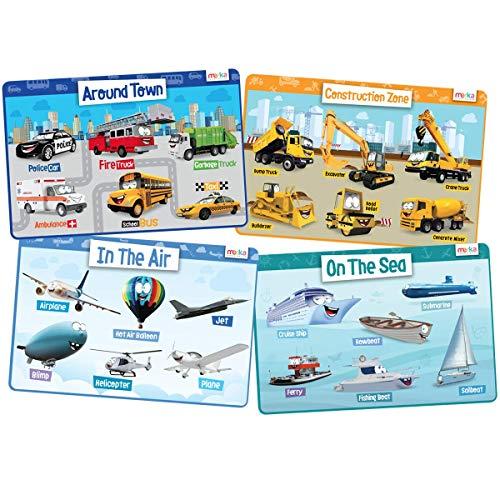 merka Kids Placemats Educational Placemat Non Slip Transport Set City Construction Cars Planes Boats
