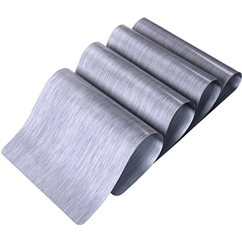 DinaChef Table Mats for Dining Table or Kitchen Quality Thermal Bonded Edges Reversible Large Place Mats Large Placemats Rectangle Design Mat Dinner Table Placemats Set of 4 TD73 Silver Silver