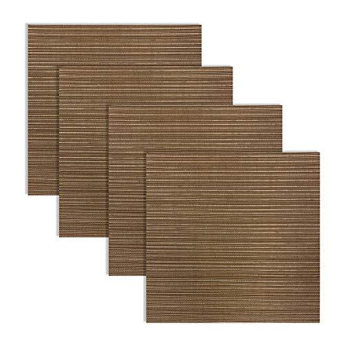 Benson Mills Woven Vinyl Placemats Bronze 14 X 14 Square Set of 4