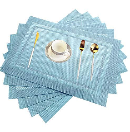 WANGCHAO Placemat Placemats Heat-Resistant Placemat Stain Resistant Anti-Skid Washable PVC Table Mats Woven Vinyl Placemat sea Blue Set of 8