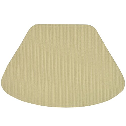 Set of 2 Green and Tan Canvas Stripe Wedge-Shaped Placemats for Round Tables