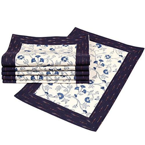 Hand Block Printed Cotton Table Mats Set of 6