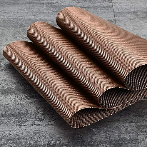 DaTun648 Placemat Wedge Shaped Placemats Scalloped Chinese PVC Woven Placemat for Round Table Washable Vinyl Table Place Mats Set of 4 Home Hotel Color  Coffee