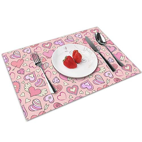 MNBVC Valentines Day Loving Heart Placemats Set of 4 for Dining Table Washable Woven Vinyl Placemat Non-Slip Heat Resistant Kitchen Table Mats Easy to Clean