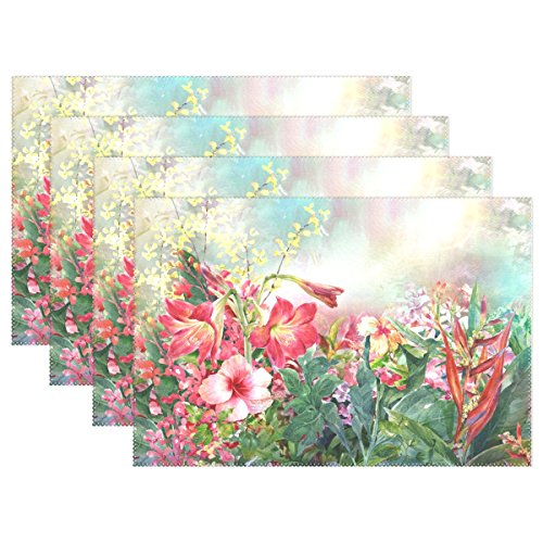 My Daily Watercolor Flowers Floral Placemats for Dining Table Set of 6 Heat Resistant Washable Polyester Kitchen Table Mats
