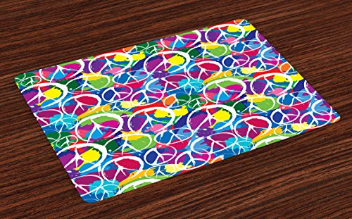 Ambesonne Retro Place Mats Set of 4 Universal Peace Sign on Colorful Pop Art Style Background Pacifist Activism Washable Fabric Placemats for Dining Room Kitchen Table Decor Multicolor