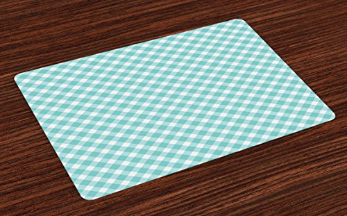 Lunarable Aqua Place Mats Set of 4 Retro Vintage Gingham Pop Art Style Lovers Spring Summer Inspired Artwork Washable Fabric Placemats for Dining Room Kitchen Table Decor Turquoise White