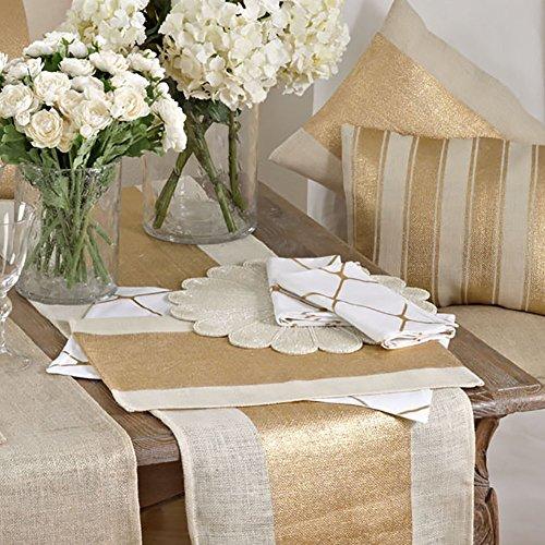 Natural Banded Foil Design 100 Jute Burlap Dining Placemat set of 4 13 X 19 Rectangular