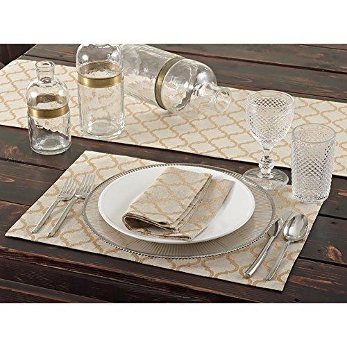 Natural Printed Moroccan Design Dining Placemat Set of 4 13 X 19 Rectangular