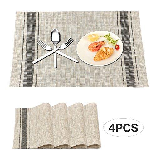 Zekkai Heat-resistant Dining Placemats Stain Resistant Non-slip Washable PVC Table Mats Set of 4 Dark Gray